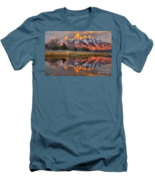 Teton Mountains Sunrise Rainbow Men's T-Shirt (Slim Fit) by Adam Jewell