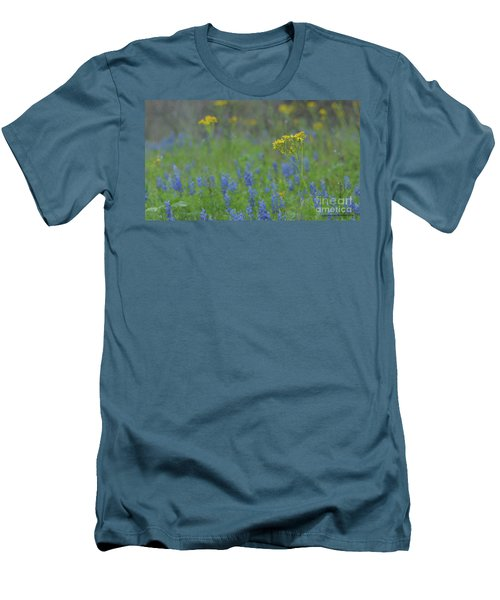 Texas Field With Blue Bonnets Men's T-Shirt (Athletic Fit)