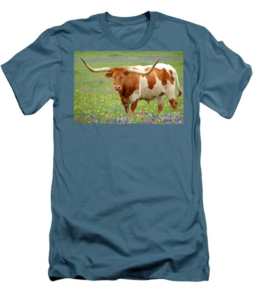 Texas Longhorn Standing In Bluebonnets Men's T-Shirt (Athletic Fit)