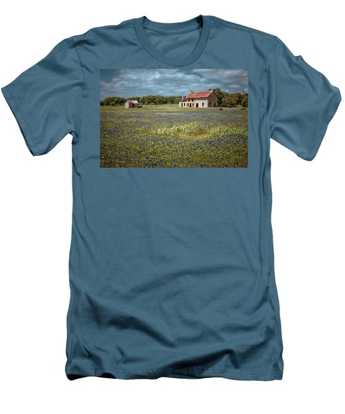 Men's T-Shirt (Slim Fit) featuring the photograph Texas Stone House by Linda Unger