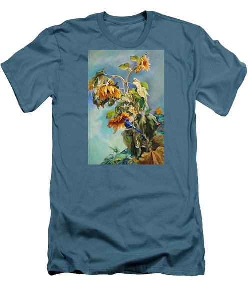 Men's T-Shirt (Slim Fit) featuring the painting The Blue Jay Who Came To Breakfast by Svitozar Nenyuk