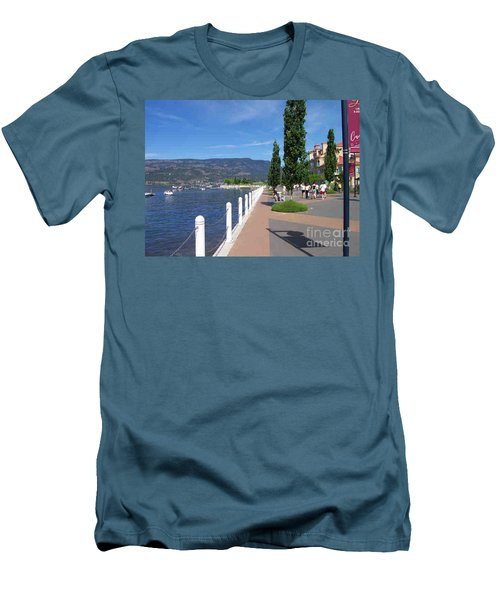 The Boardwalk In Kelowna   Men's T-Shirt (Slim Fit) by Rod Jellison