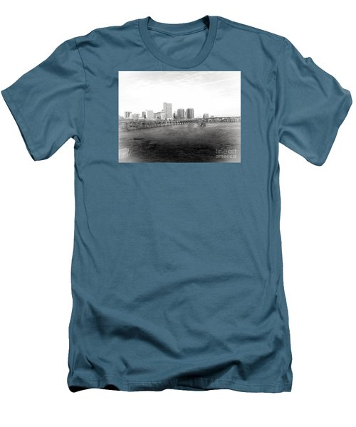 The City Of Richmond Black And White Men's T-Shirt (Slim Fit) by Melissa Messick