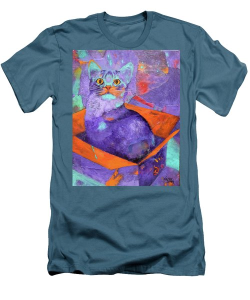 Men's T-Shirt (Slim Fit) featuring the painting The Color Purrrple by Nancy Jolley