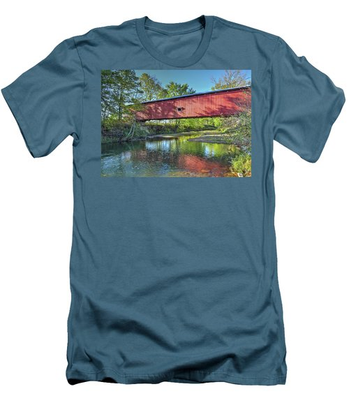 The Crooks Covered Bridge - Sideview Men's T-Shirt (Slim Fit) by Harold Rau