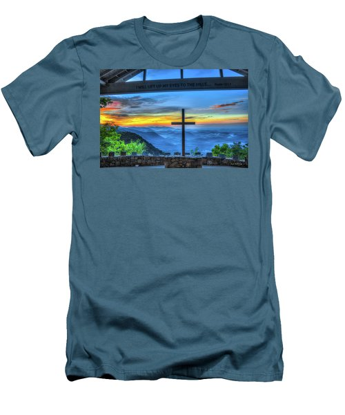 The Cross Sunrise At Pretty Place Chapel Men's T-Shirt (Slim Fit) by Reid Callaway