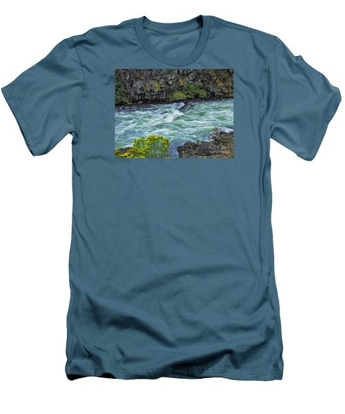 The Deschutes River At Dillon Falls Men's T-Shirt (Slim Fit) by Nancy Marie Ricketts