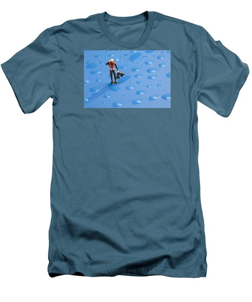 Men's T-Shirt (Slim Fit) featuring the photograph The Diver Among Water Drops Little People Big World by Paul Ge