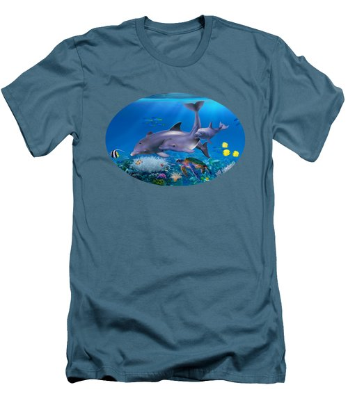 The Dolphin Family Men's T-Shirt (Slim Fit) by Glenn Holbrook