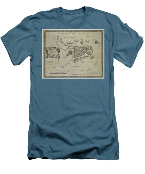 Men's T-Shirt (Slim Fit) featuring the photograph The Dukes Plan A Description Of The Town Of Mannados Or New Amsterdam 1664 by Duncan Pearson