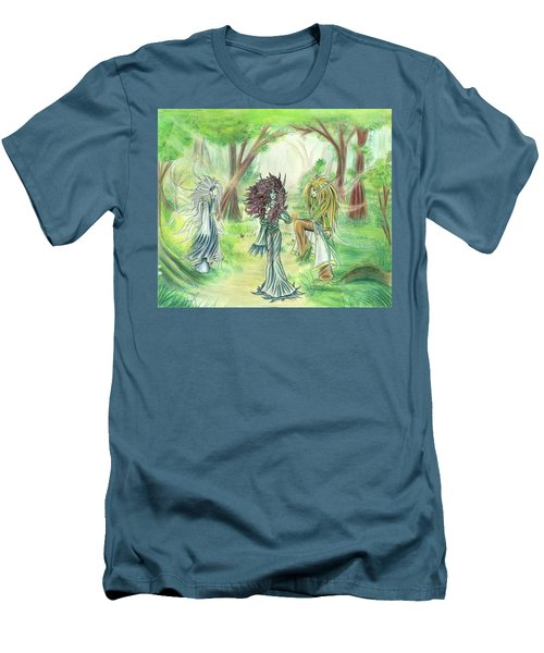 Men's T-Shirt (Athletic Fit) featuring the painting The Fae - Sylvan Creatures Of The Forest by Shawn Dall