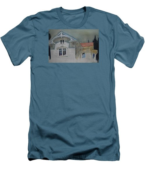 Men's T-Shirt (Slim Fit) featuring the painting the Ginger Bread House by Len Stomski