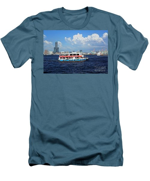 Men's T-Shirt (Slim Fit) featuring the photograph The Kaohsiung Harbor Ferry Crosses The Bay by Yali Shi