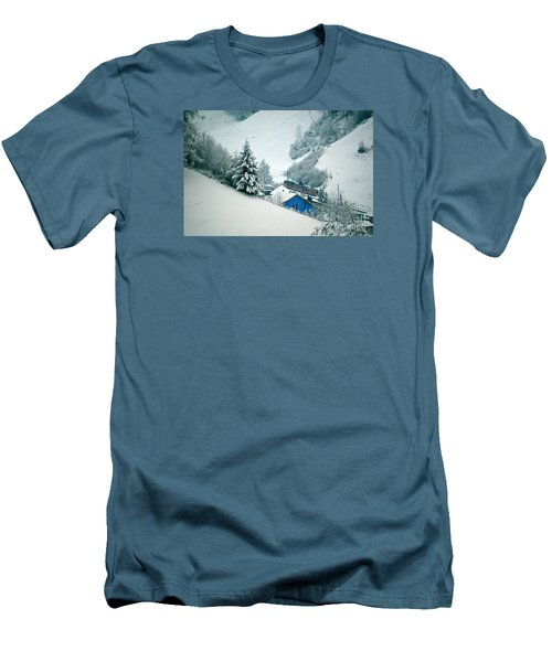 Men's T-Shirt (Slim Fit) featuring the photograph The Little Red Train - Winter In Switzerland  by Susanne Van Hulst