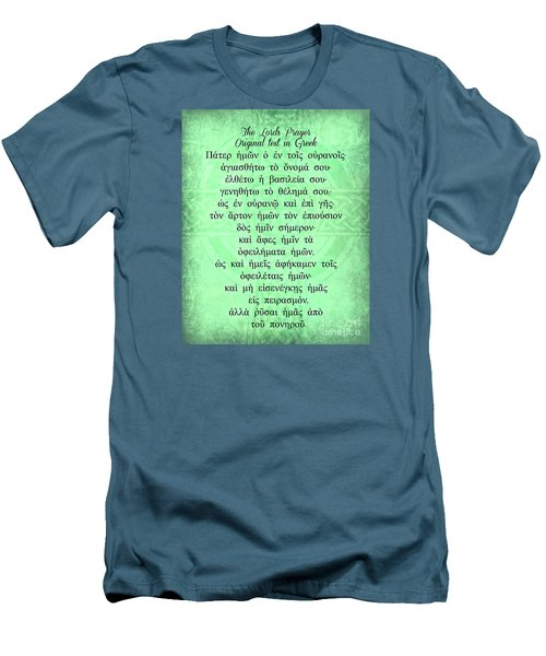 Men's T-Shirt (Slim Fit) featuring the digital art The Lords Prayer In Greek by Mindy Bench
