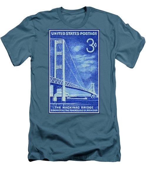 The Mackinac Bridge Stamp Men's T-Shirt (Slim Fit) by Lanjee Chee