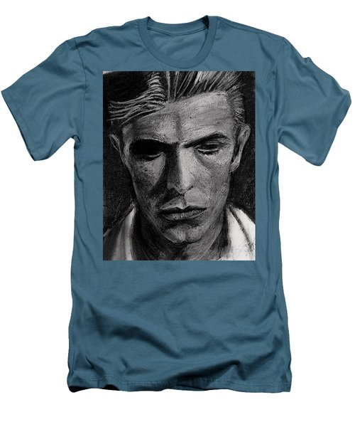Men's T-Shirt (Athletic Fit) featuring the painting The Man Who Fell To Earth 1976 by Jarko Aka Lui Grande