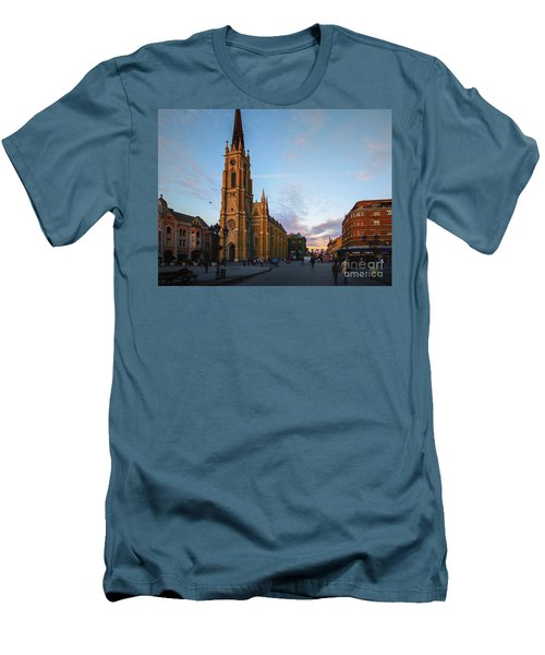 The Name Of Mary Church At Dusk Novi Sad Men's T-Shirt (Slim Fit) by Jivko Nakev