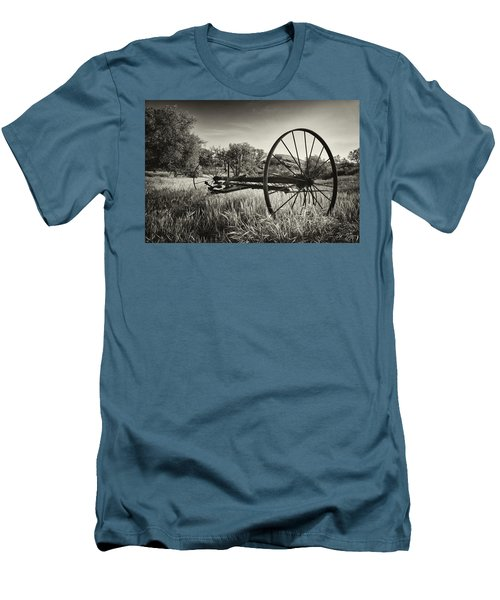The Old Mower 2 In Black And White Men's T-Shirt (Slim Fit) by Endre Balogh