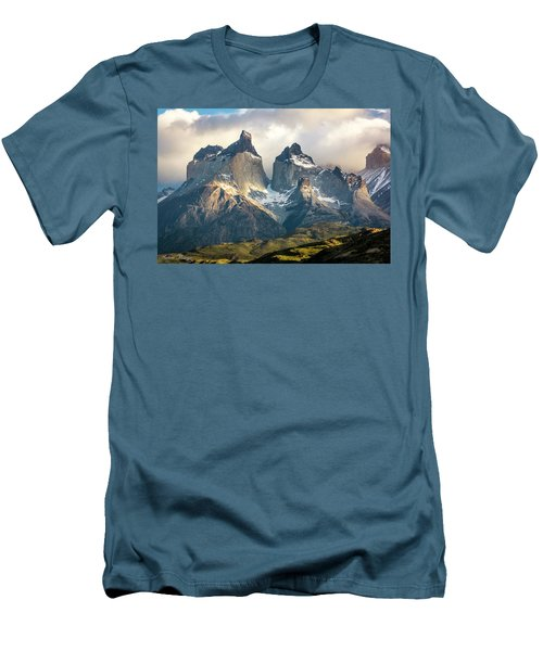 Men's T-Shirt (Slim Fit) featuring the photograph The Peaks At Sunrise by Andrew Matwijec