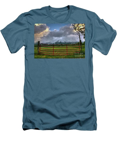 Men's T-Shirt (Slim Fit) featuring the photograph The Red Gate by Douglas Stucky