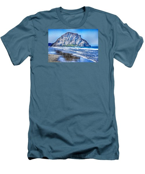 The Rock At Morro Bay Large Canvas Art, Canvas Print, Large Art, Large Wall Decor, Home Decor, Photo Men's T-Shirt (Slim Fit) by David Millenheft