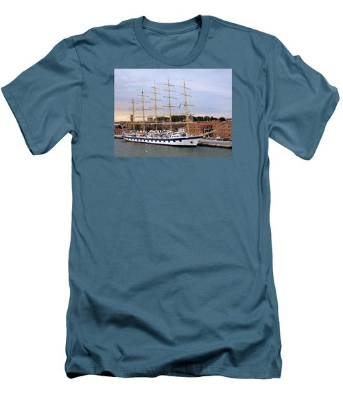 The Royal Clipper Docked In Venice Italy Men's T-Shirt (Slim Fit) by Richard Rosenshein