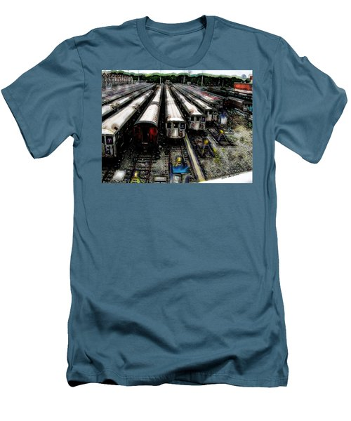 Men's T-Shirt (Slim Fit) featuring the photograph The Seven Train Yard Queens Ny by Iowan Stone-Flowers
