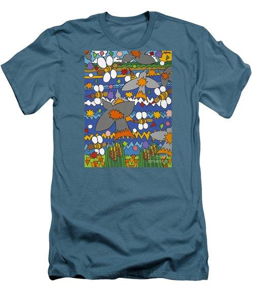 The Swallows Men's T-Shirt (Slim Fit) by Rojax Art