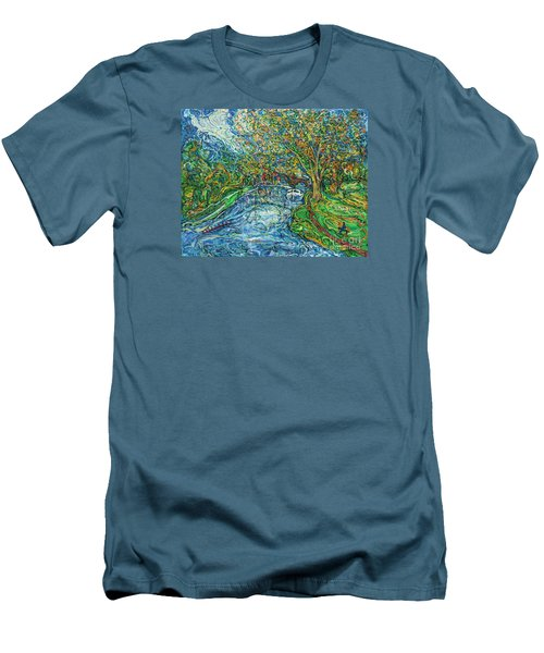 The Thames At Oxford Men's T-Shirt (Slim Fit) by Anna Yurasovsky