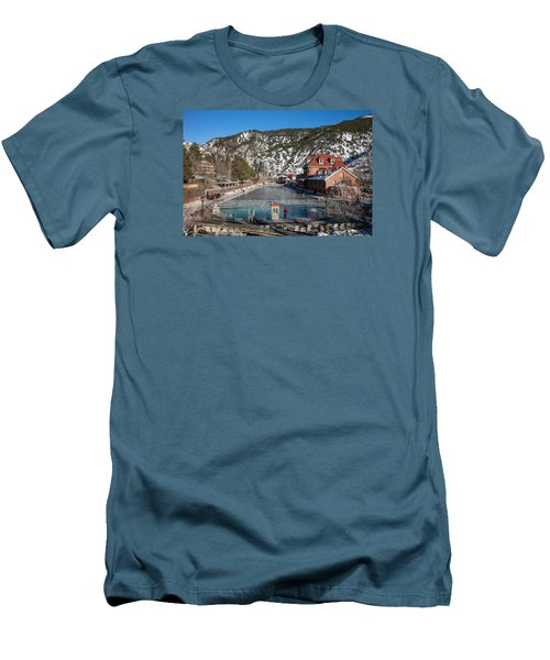 The World's Largest Hot-springs Pool At The Spa Of The Rockies In Glenwood Springs Men's T-Shirt (Slim Fit) by Carol M Highsmith