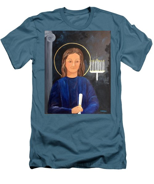 Men's T-Shirt (Slim Fit) featuring the painting The Young Teacher by Ellen Canfield