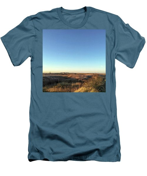 Thornham Marsh Lit By The Setting Sun Men's T-Shirt (Slim Fit) by John Edwards