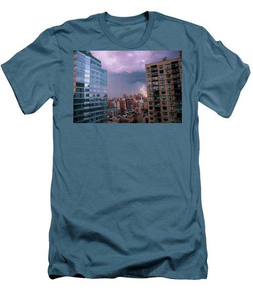 Men's T-Shirt (Slim Fit) featuring the photograph Threatening Storm - Manhattan - 2016 by Madeline Ellis