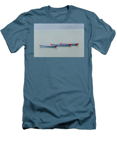 Three Blue Boats On Phewa Lake In Pokhara Men's T-Shirt (Athletic Fit)