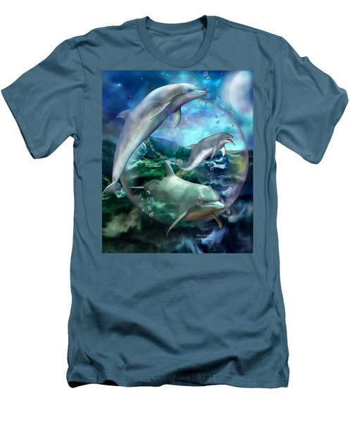 Men's T-Shirt (Athletic Fit) featuring the mixed media Three Dolphins by Carol Cavalaris