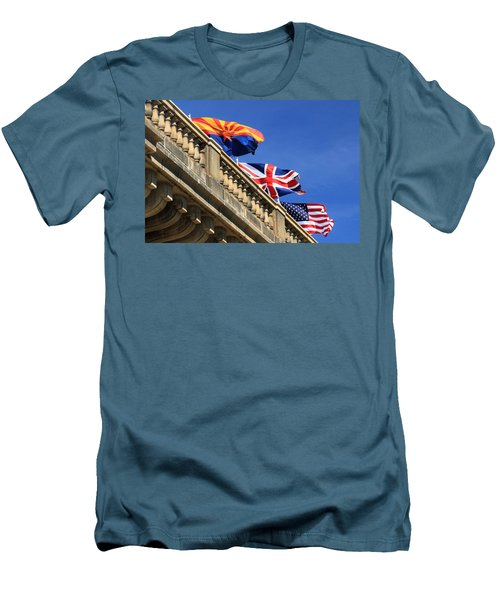Three Flags At London Bridge Men's T-Shirt (Slim Fit) by James Eddy