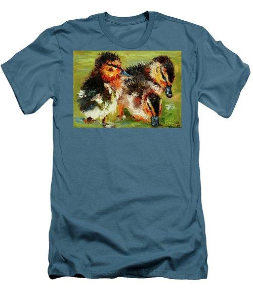 Three Little Ducks Men's T-Shirt (Slim Fit) by Janet Garcia