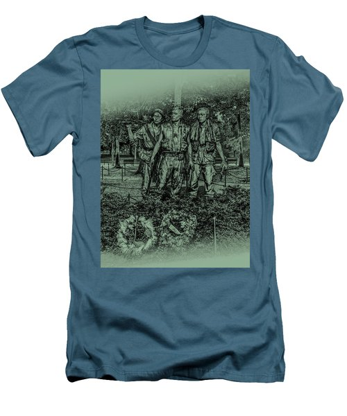 Men's T-Shirt (Athletic Fit) featuring the photograph Three Soldiers Memorial by David Morefield