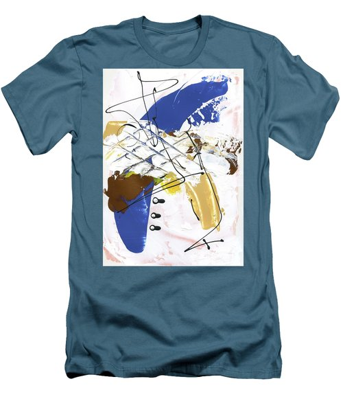 Men's T-Shirt (Slim Fit) featuring the painting Three Color Palette Blue 3 by Michal Mitak Mahgerefteh