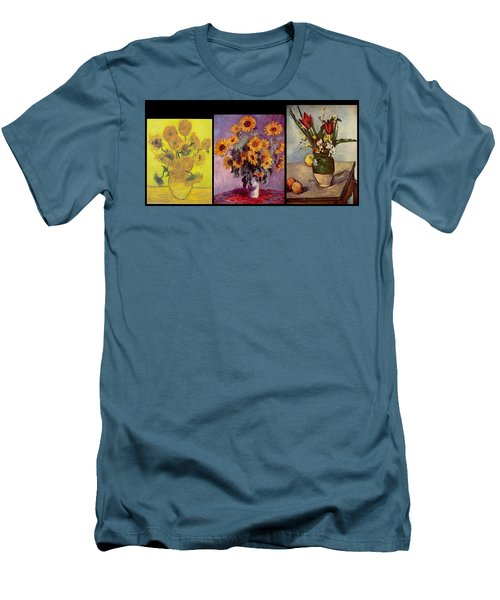 Three Vases Van Gogh - Cezanne Men's T-Shirt (Athletic Fit)
