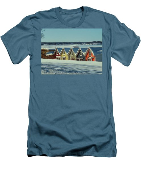 Winter View Ti Park Boathouses Men's T-Shirt (Athletic Fit)