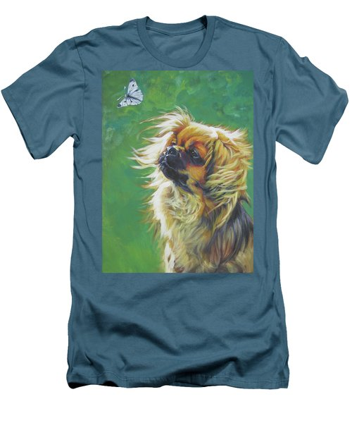 Tibetan Spaniel And Cabbage White Butterfly Men's T-Shirt (Slim Fit) by Lee Ann Shepard
