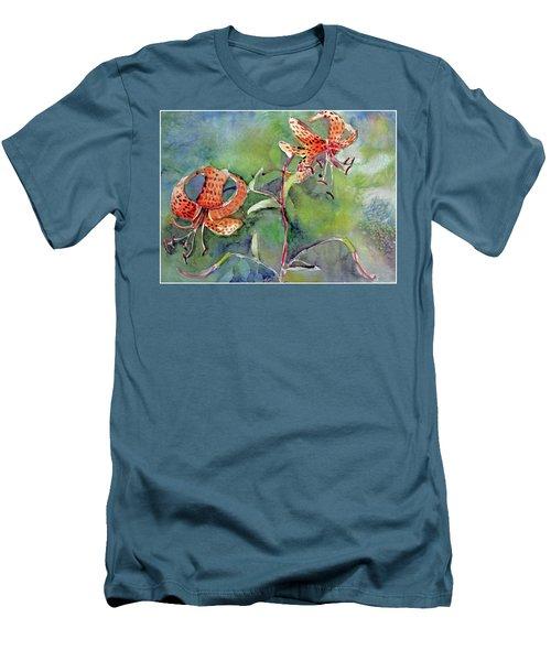 Tiger Lilies Men's T-Shirt (Slim Fit) by Mindy Newman