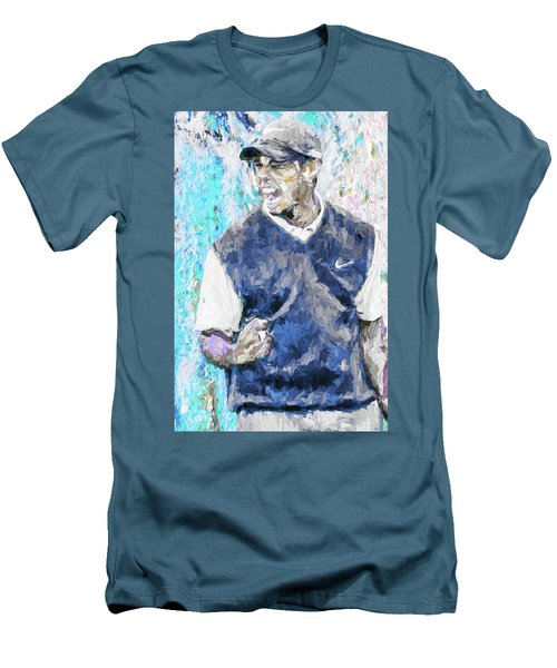 Men's T-Shirt (Slim Fit) featuring the photograph Tiger Says 2 Painting Digital Golf by David Haskett