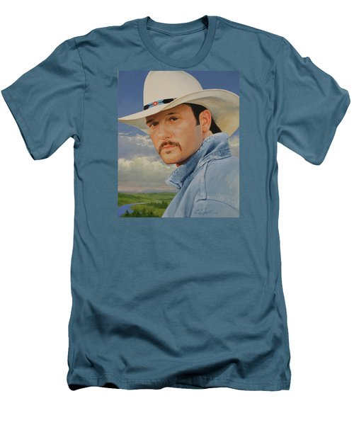 Men's T-Shirt (Slim Fit) featuring the painting Tim Mcgraw by Cliff Spohn