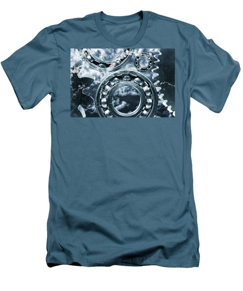 Men's T-Shirt (Slim Fit) featuring the photograph Titanium Gears Against Storm Clouds by Christian Lagereek
