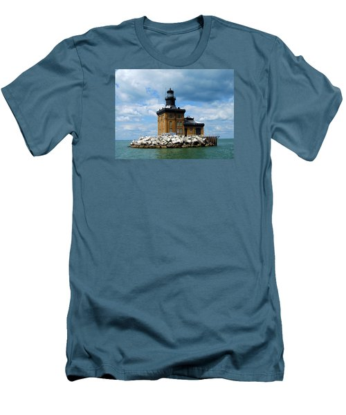 Toledo Harbor Lighthouse Men's T-Shirt (Slim Fit) by Michiale Schneider