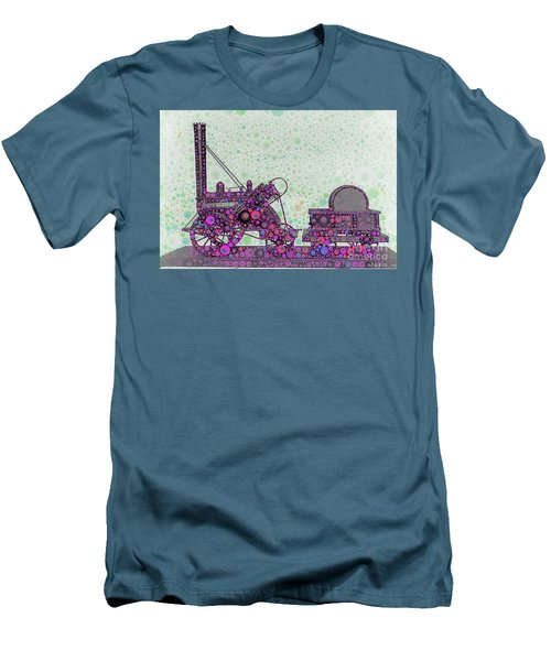 Stephenson's Rocket Steam Locomotive 1829 Men's T-Shirt (Slim Fit) by Wernher Krutein