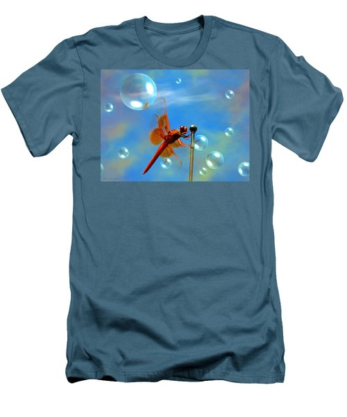 Transparent Red Dragonfly Men's T-Shirt (Slim Fit) by Joyce Dickens